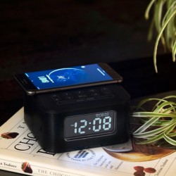 Homtiem D2qi Bluetooth Speaker with Alarm Clock and Wireless Charging Function.