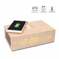 Homtiem M9qi Wooden Bluetooth Speaker with Alarm Clock and Wireless Charging Function.