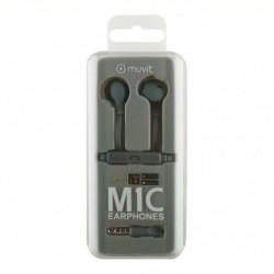 MUVIT MlC STEREO RUBBER EARPHONES WITH MICROPHONE Gray