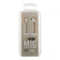 MUVIT MlC STEREO RUBBER EARPHONES WITH MICROPHONE White